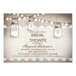 burlap and mason jars bridal shower invitations