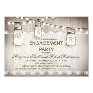 burlap and mason jars engagement party invitations