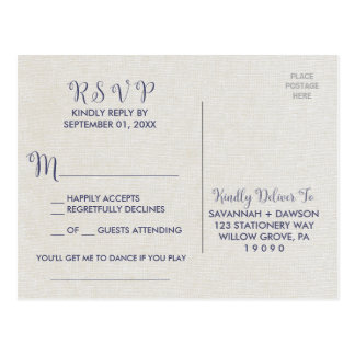 Burlap and Navy Lace | Floral Song Request RSVP Postcard