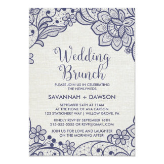 Burlap and Navy Lace | Floral Wedding Brunch Card