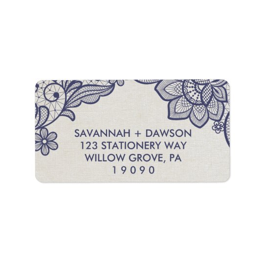 Burlap and Navy Lace   Floral Wedding Label