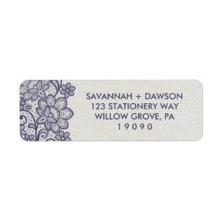 Burlap and Navy Lace | Floral Wedding Return Address Label