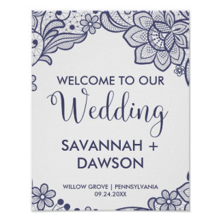 Burlap and Navy Lace | Floral Wedding Welcome Poster