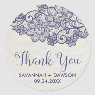 "Burlap and Navy Lace ""Thank You"" Wedding Favor Classic Round Sticker"