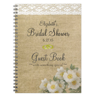 Burlap and Primrose Bridal Shower Guest Book Spiral Notebooks