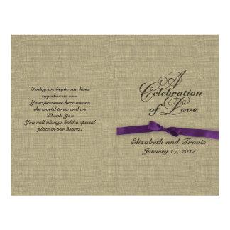 Burlap and Purple Bow Wedding Program 21.5 Cm X 28 Cm Flyer