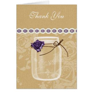 burlap and purple rose mason jar thank you card