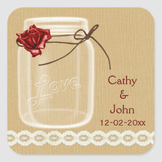 burlap and red rose mason jar envelope seals square sticker
