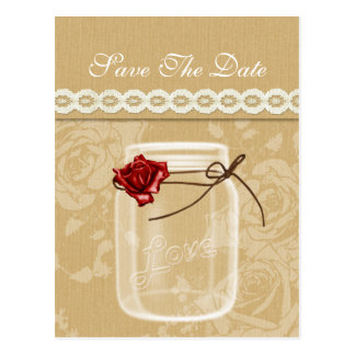 burlap and red rose mason jar save the date postcard