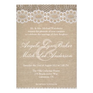 Burlap and Vintage Lace Shabby Chic Wedding Invite