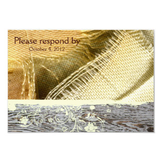 Burlap and Wood Country RSVP with envelope Card