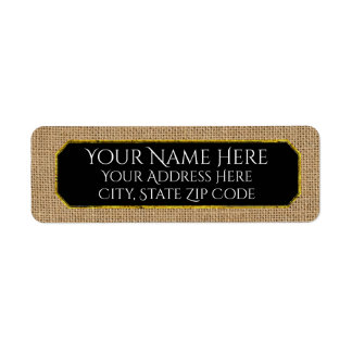 Burlap and Your Color Text Return Address Label