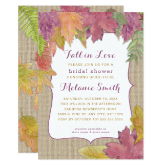 Burlap Autumn Leaf Fall Bridal Shower invite 3973