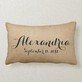 Burlap Baby Birth Date Name Heaven Sent Lumbar Cushion