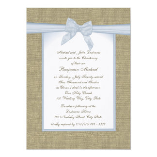 Burlap Baby Blue Christening 14 Cm X 19 Cm Invitation Card