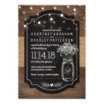 Burlap Baby Breath Wooden Wedding | Mason Jar 13 Cm X 18 Cm Invitation Card