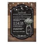 Burlap Baby Breath Wooden Wedding | Mason Jar 13 Cm X 18 Cm Invitation Card