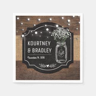 Burlap Baby Breath Wooden Wedding | Mason Jar Paper Napkin