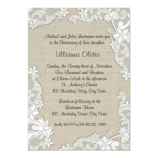 Burlap Baby Christening 13 Cm X 18 Cm Invitation Card