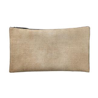Burlap Background Cosmetic Bags