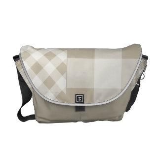 Burlap Beige Gingham Messenger Bags