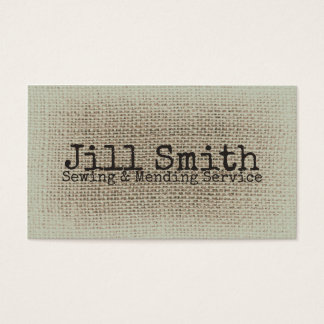 Burlap Beige Texture Woven Sewing Textile Vintage Business Card