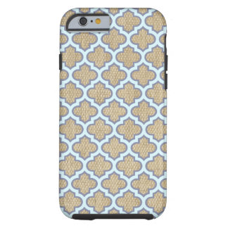 Burlap & Blue Girly Quatrefoil Pattern Trendy Cute Tough iPhone 6 Case