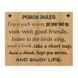Burlap Board Signs - Porch Rules Wood Canvas