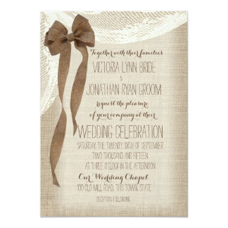 Burlap Bow and Lace Cascade Card