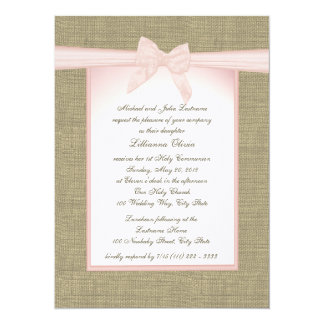 Burlap Bow Pink Communion 14 Cm X 19 Cm Invitation Card