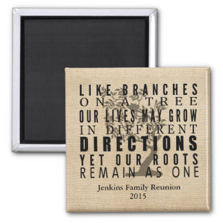 Burlap Branches on a Tree Family Reunion Quote Magnet