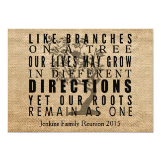 Burlap Branches Tree Family Reunion 13 Cm X 18 Cm Invitation Card
