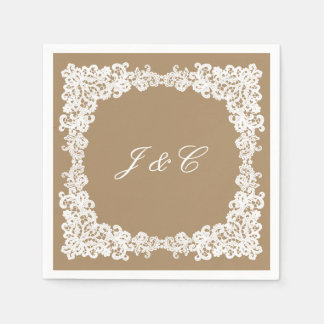 Burlap brown and white lace cocktail napkin disposable napkin