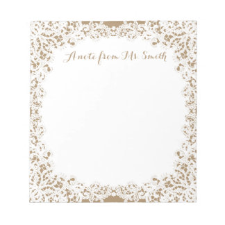 Burlap brown and white lace custom design notepad