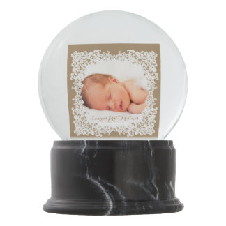Burlap brown and white lace custom photo design snow globe