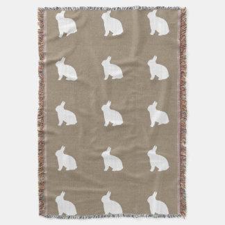 Burlap Bunny Throw Blanket