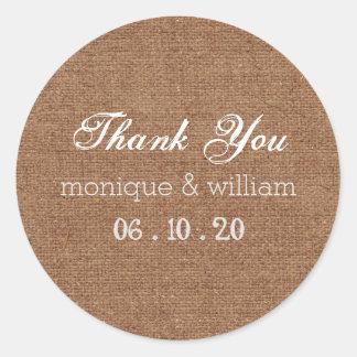 Burlap Chalk Flourish Wedding Thank You Round Sticker