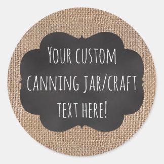 Burlap Chalkboard Look Custom Printed Canning Jar Round Sticker