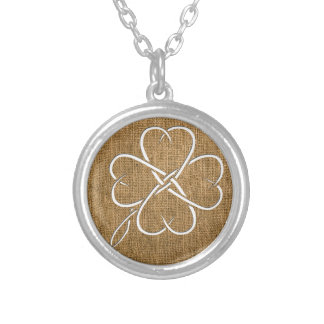 Burlap Clover Cutout Necklace