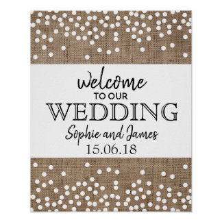 Burlap Confetti Wedding Welcome Sign