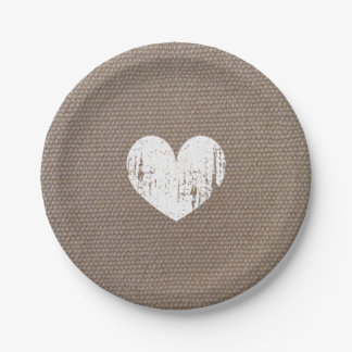 Burlap country chic heart paper plates for wedding