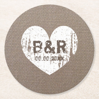 Burlap country chic monogram coasters for wedding round paper coaster