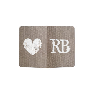 Burlap country chic monogram passport holder