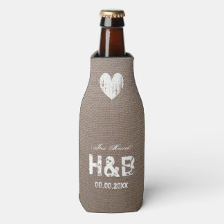 Burlap country chic monogram wedding bottle cooler