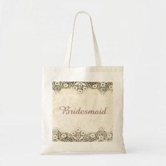 burlap country lace Bridesmaid tote Budget Tote Bag