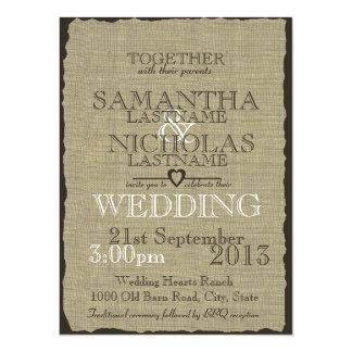 Burlap Country Rustic Wedding 14 Cm X 19 Cm Invitation Card