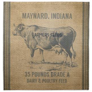 burlap cow feed sack printed napkin