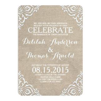 "Burlap Damask Filigree Rustic Wedding Invitation 5"" X 7"" Invitation Card"