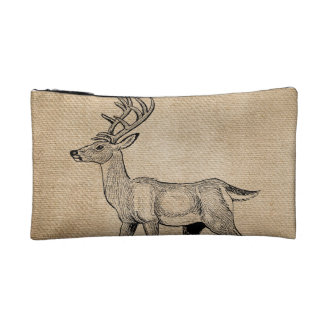 Burlap Deer Buck Horns Rustic Background Cosmetics Bags