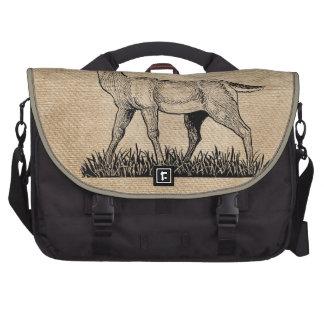Burlap Deer Buck Horns Rustic Background Commuter Bags